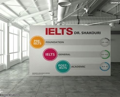 طراحی پوستر دورههای آیلتس مرکز زبان ایرانیان بندرانزلی - موج شکن